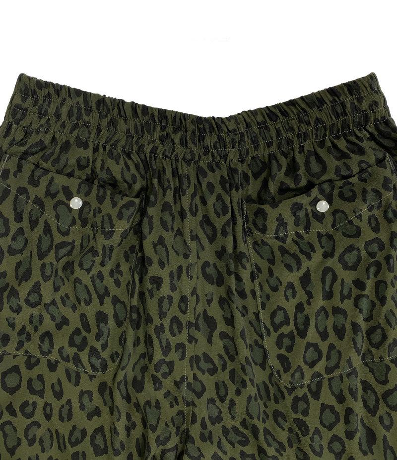 Needles String Cowboy Pant - Rayon Cloth / Leopard Print - Olive