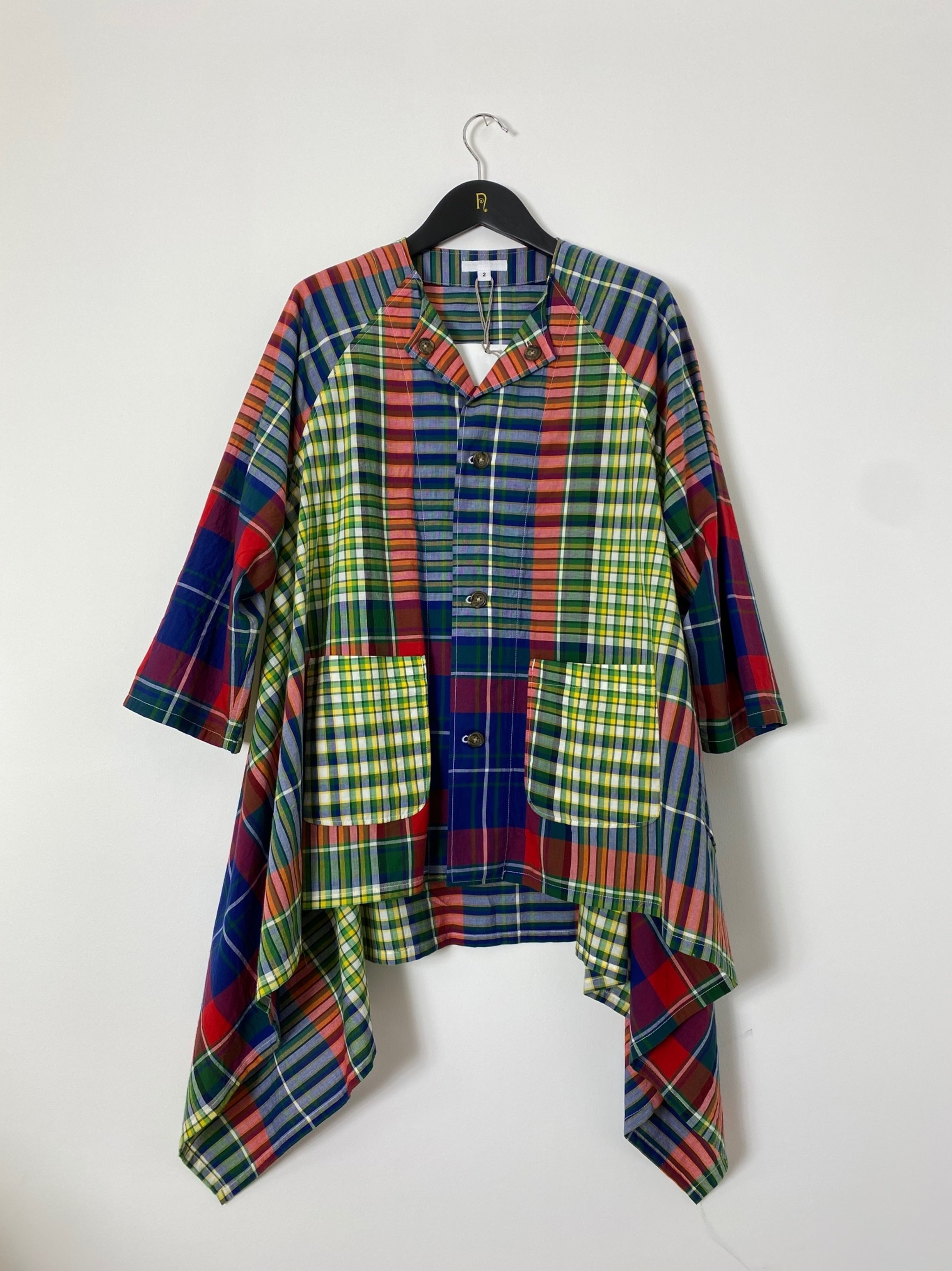 No Collar Raglan - Red/Blue/Green Big Madras Plaid 2