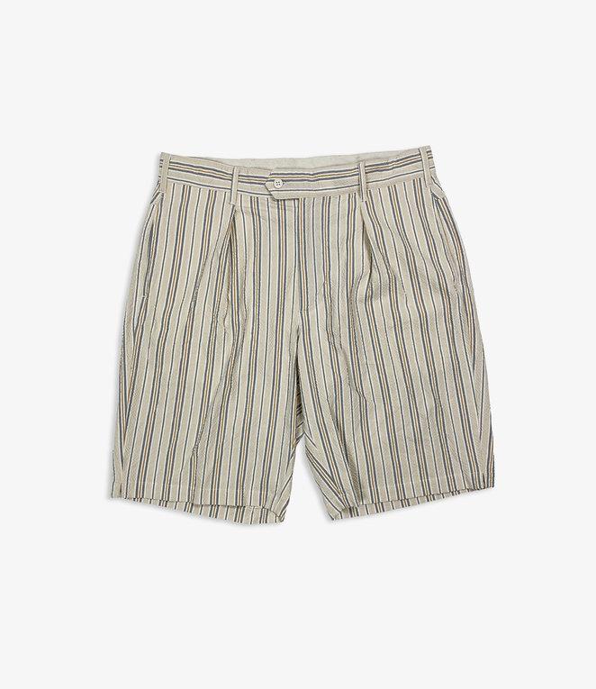 Engineered Garments Sunset Short - Beige/Orange Seersucker Alternate Stripe