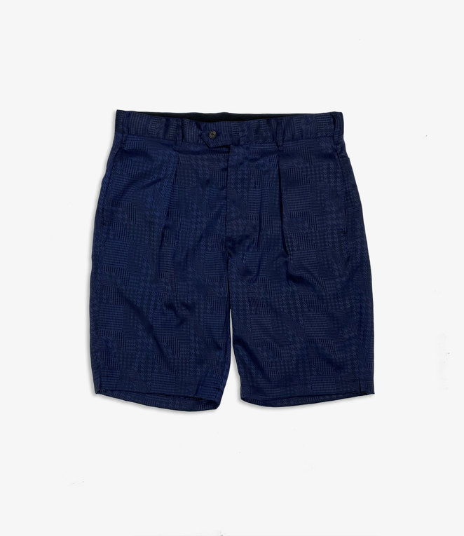 Engineered Garments Sunset Short - Dk.Navy Polyester Jacquard Houndstooth
