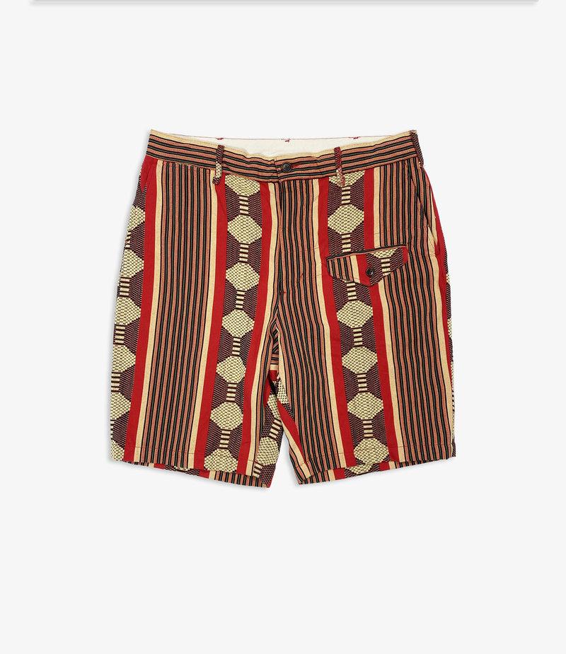 Engineered Garments Ghurka Short - Red Ethnic Jacquard Stripe
