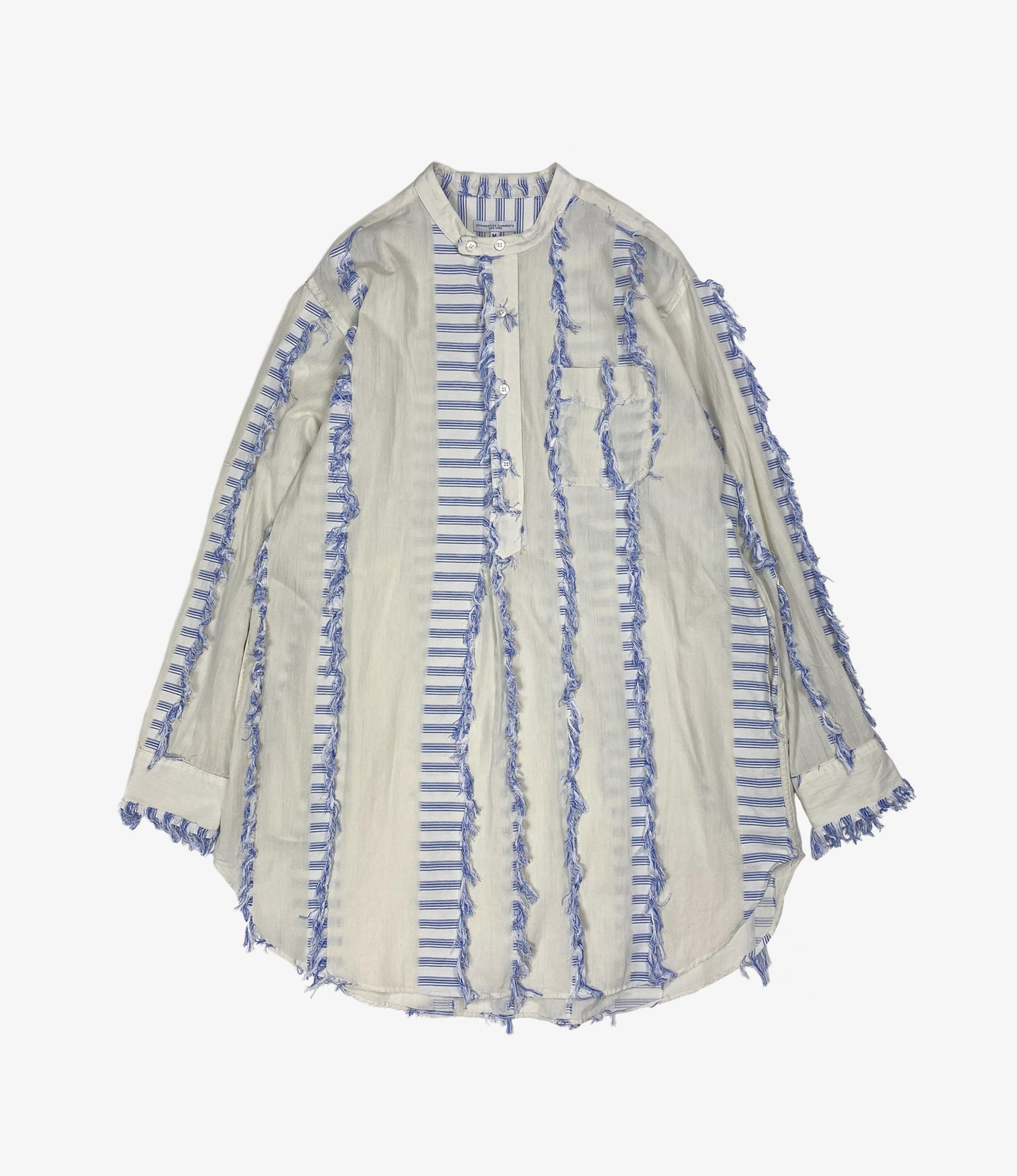 Engineered Garments Banded Collar Long Shirt - Natural/Blue Dobby Tassel