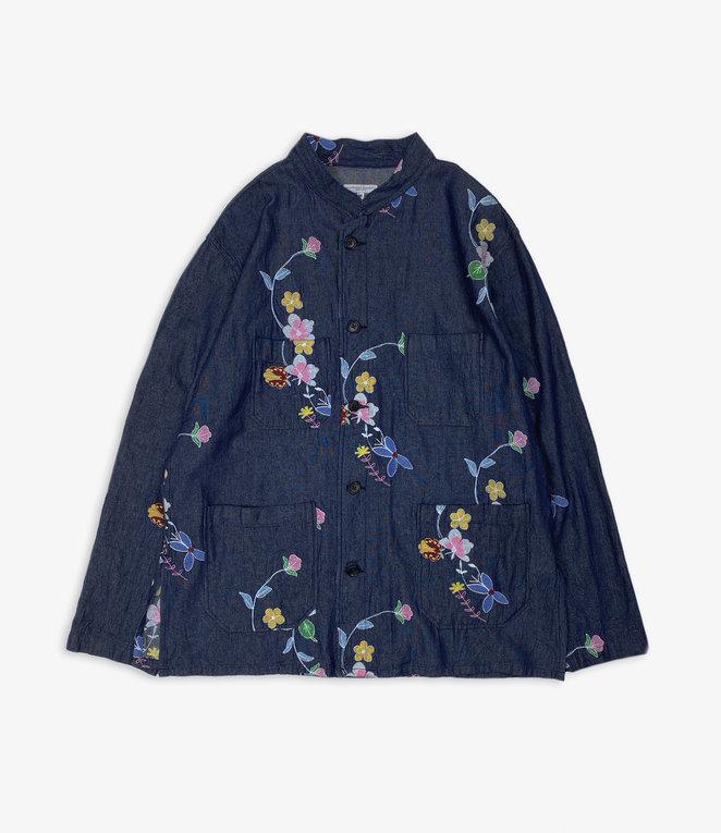 Engineered Garments Dayton Shirt - Indigo Denim Floral Embroidery