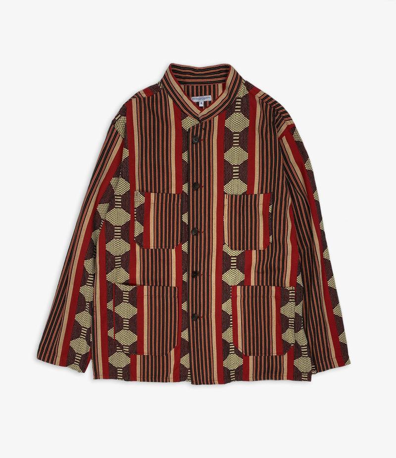 Engineered Garments Dayton Shirt - Red Ethnic Jacquard Stripe