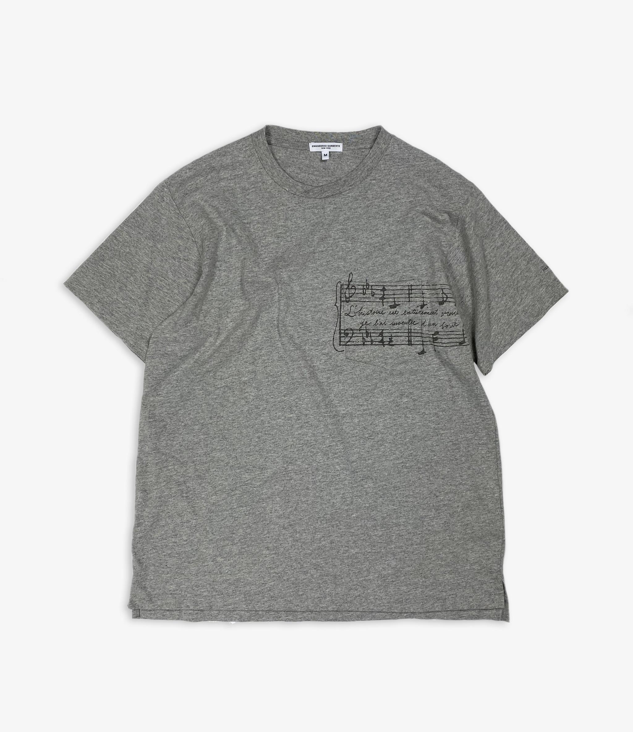 Engineered Garments Printed Cross Crew Neck T-shirt - Grey - Music