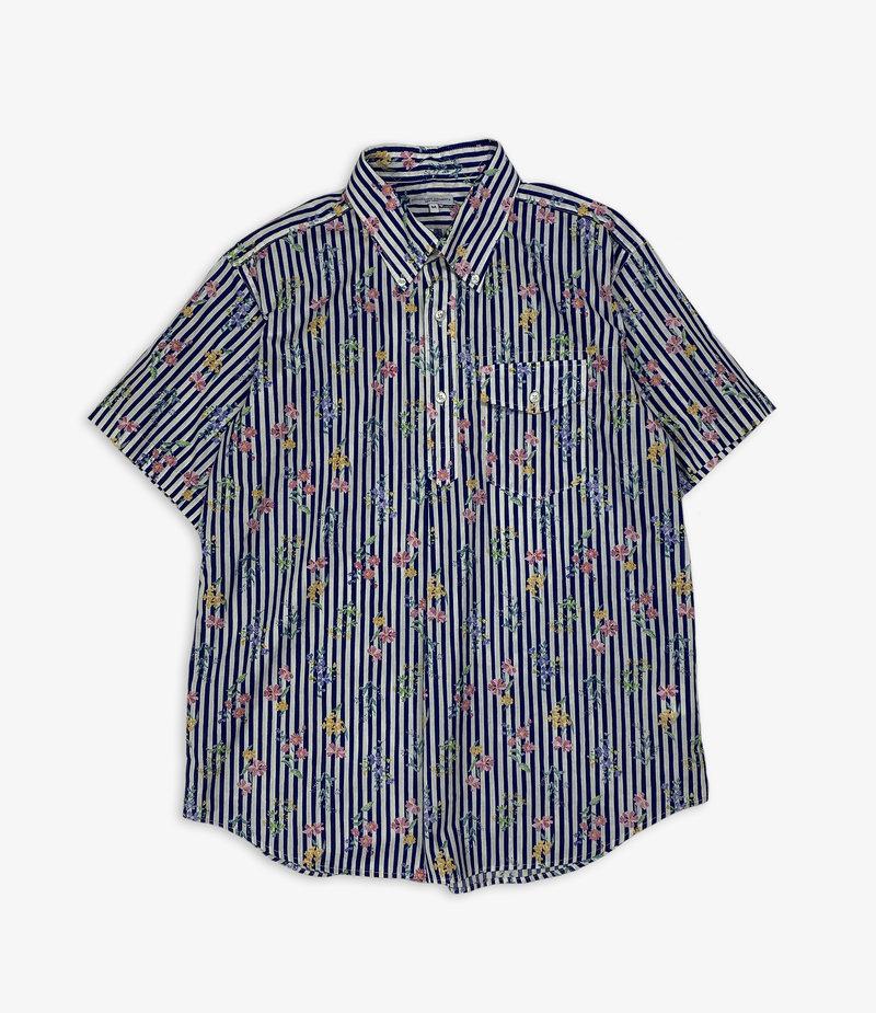 Engineered Garments Popover BD Shirt - Navy Cotton Floral Stripe Print