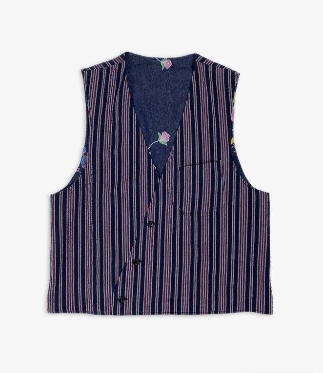 Engineered Garments Reversible Vest - Navy/Red Seersucker Alternate Stripe