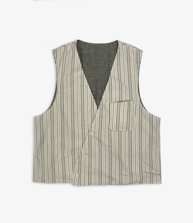 Engineered Garments Reversible Vest - Beige/Orange Seersucker Alternate Stripe
