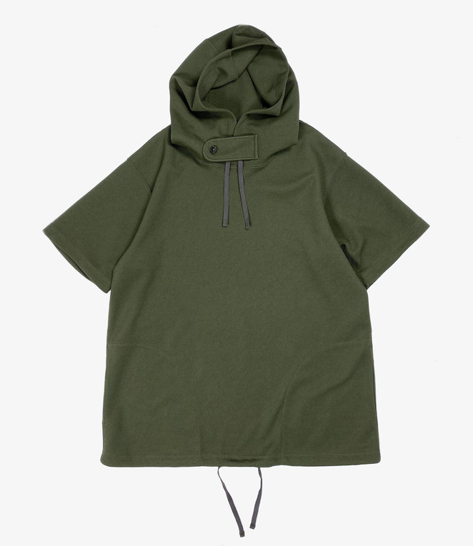 Engineered Garments Short Sleeve Hoody - Olive Diamond Poly Knit