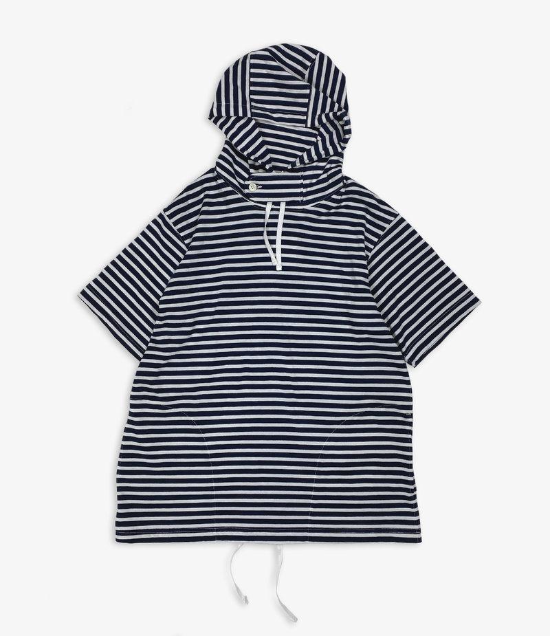 Engineered Garments Short Sleeve Hoody - Navy/White PC Stripe Jersey
