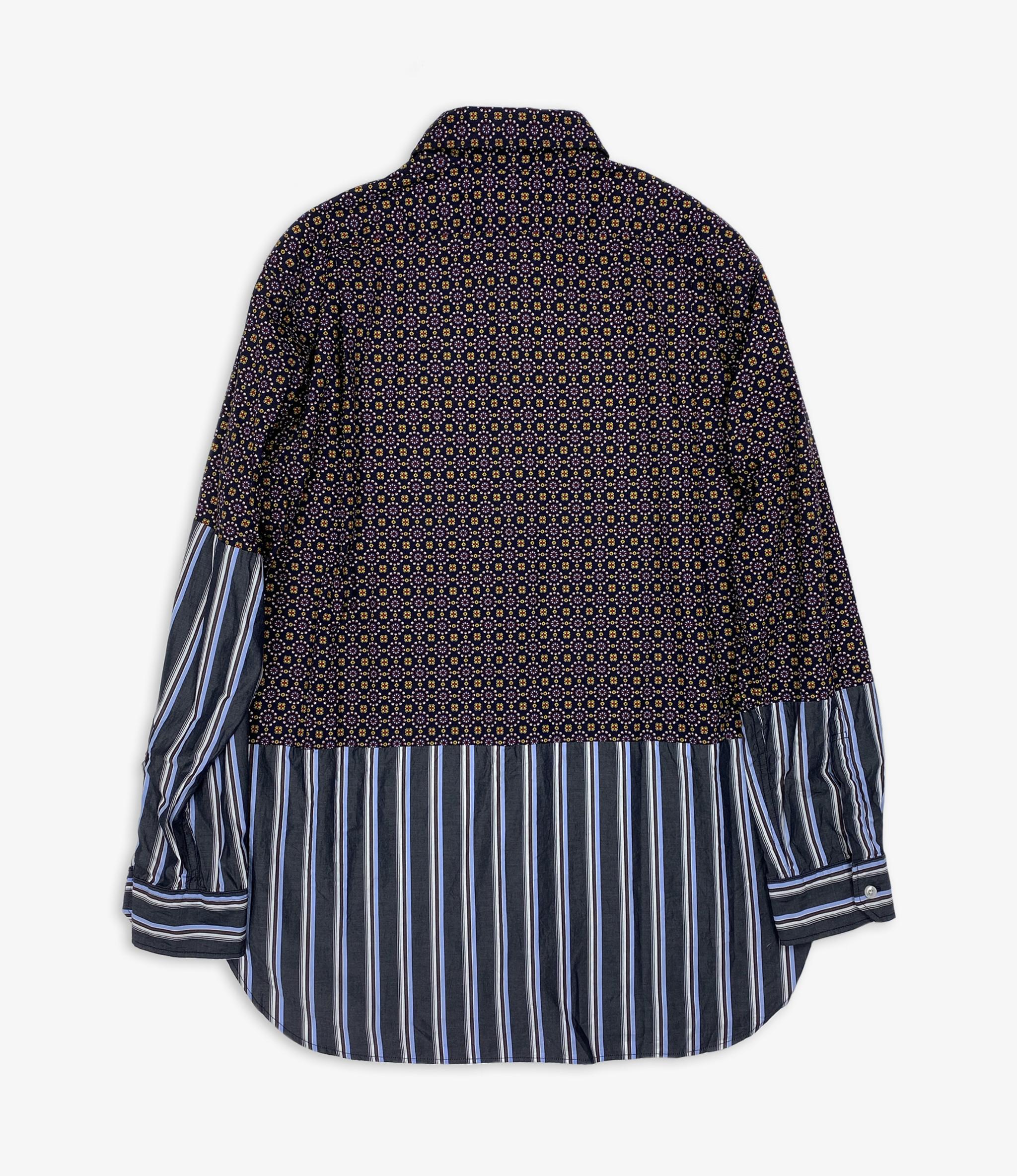Engineered Garments EG / Spread Collar Shirt - Navy Floral Foulard Print