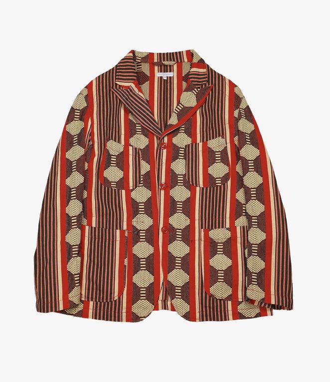 Engineered Garments Bedford Jacket - Red Ethnic Jacquard Stripe