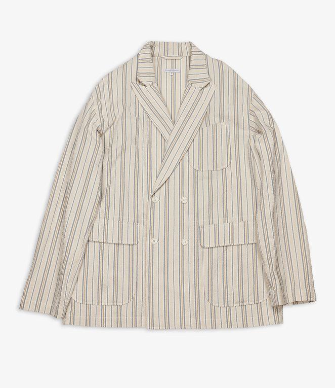 Engineered Garments DL Jacket - Beige/Orange Seersucker Alternate Stripe