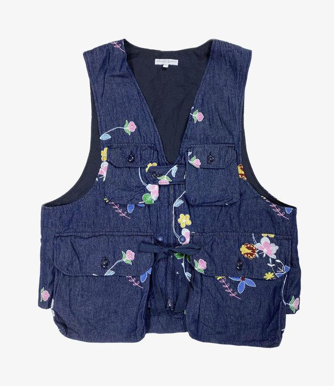 Engineered Garments Game Vest - Indigo Denim Floral Embroidery