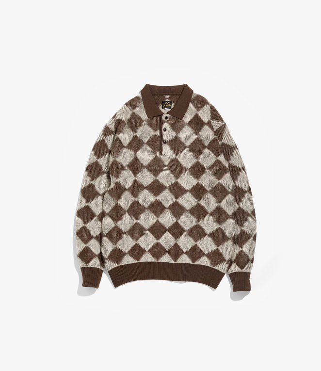 Needles Polo Sweater - Checkered - Dark Brown
