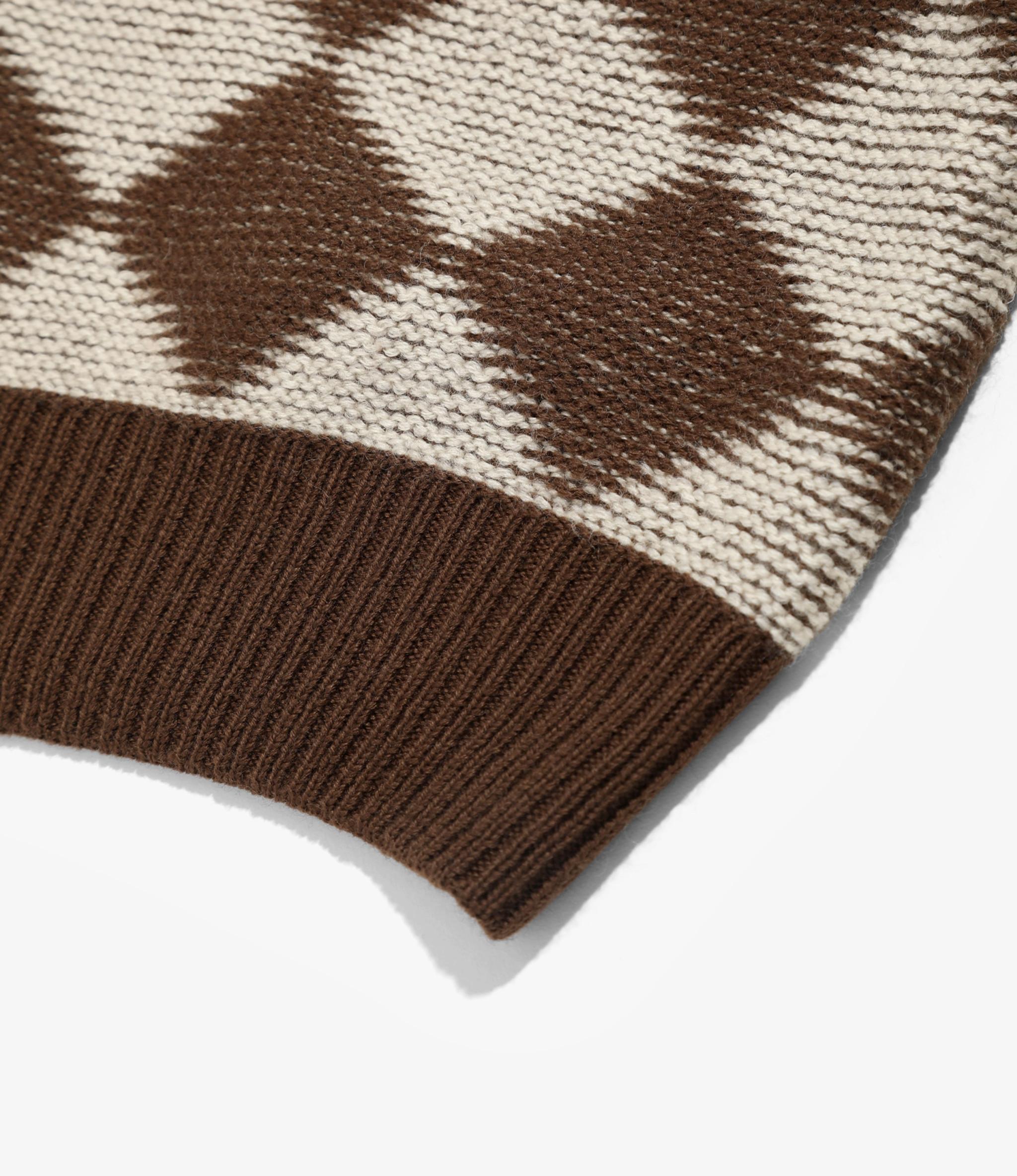 Needles Polo Sweater - Checkered - Dark Brown