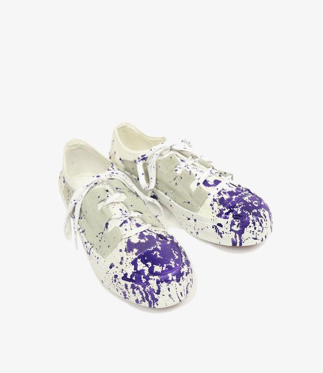 Needles Asymmetric Ghillie Sneaker - Wht W/Ppl Paint