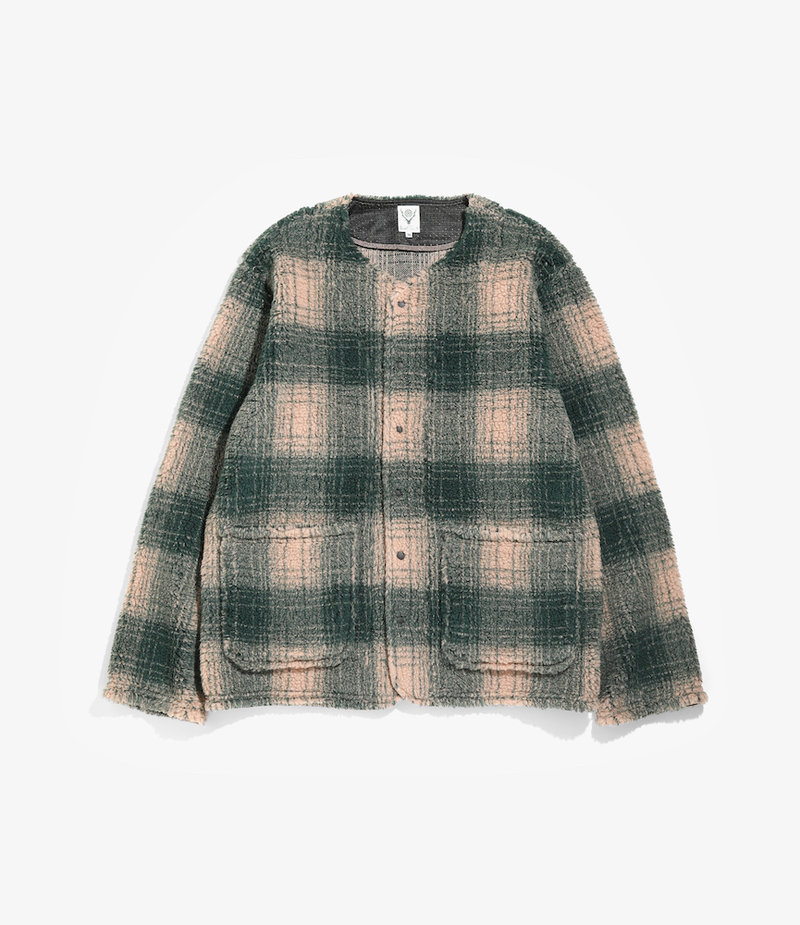 South2 West8 Patch Pockets Cardigan - Boa Ombre Plaid - Green