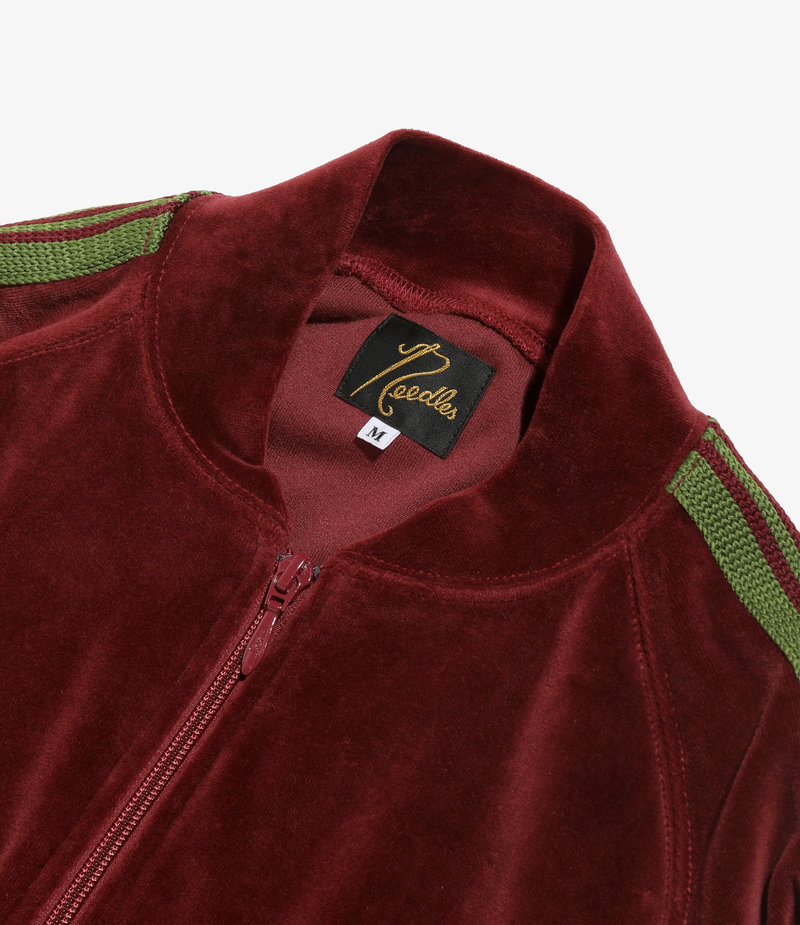 Needles Rib Collar Track Jacket - C/Pe Velour - Bordeaux