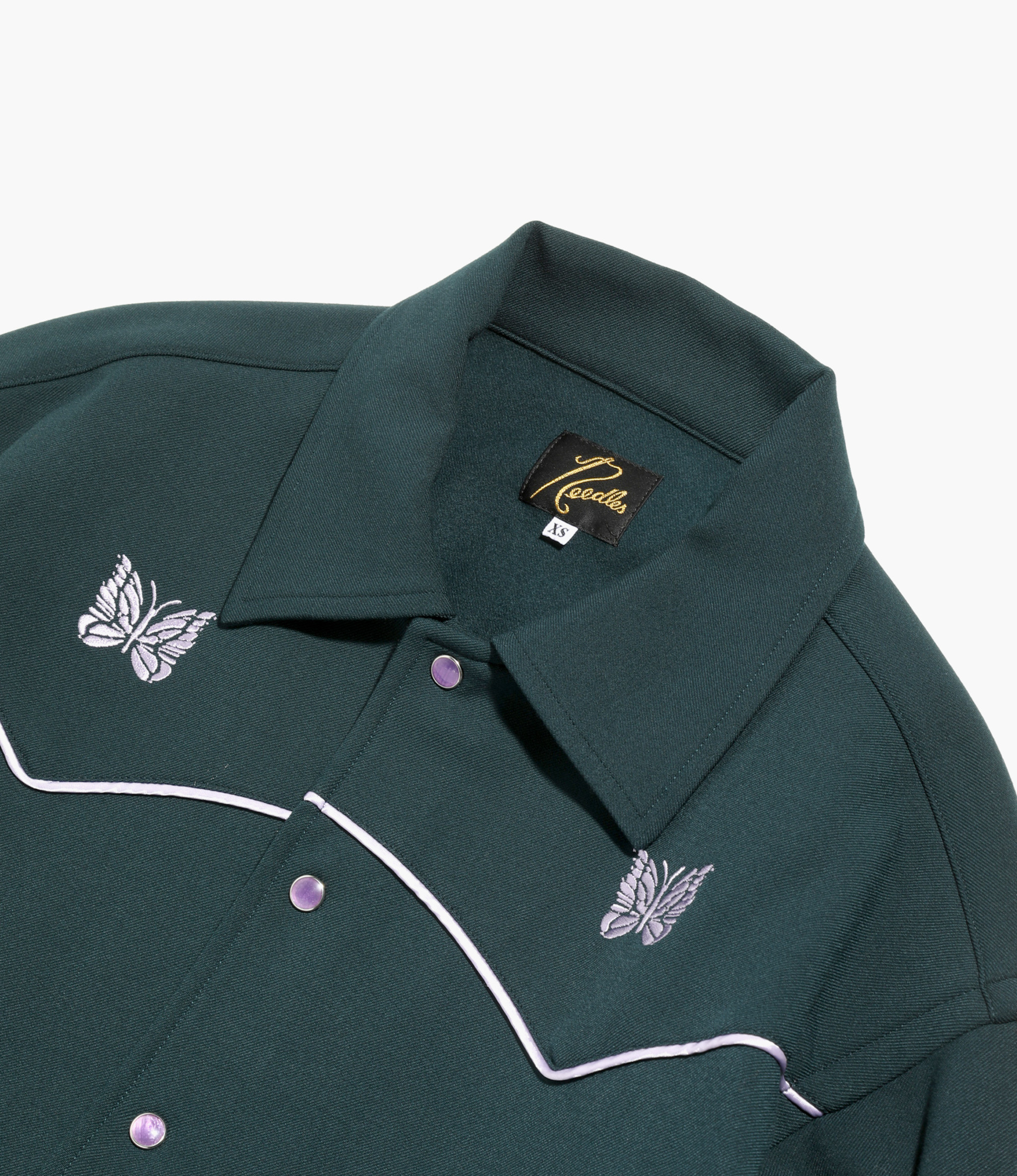 Needles Piping Cowboy Jacket - Pe/R/Pu Twill - Green