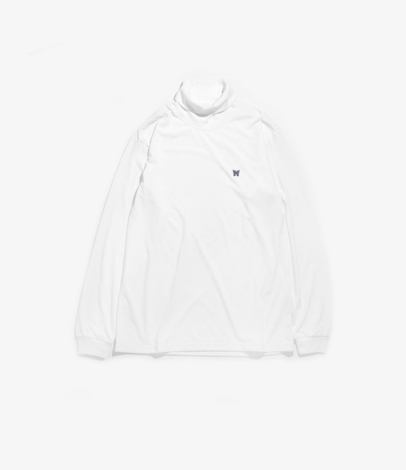 Needles Long Sleeve Turtle Neck Tee - Poly Jersey - White