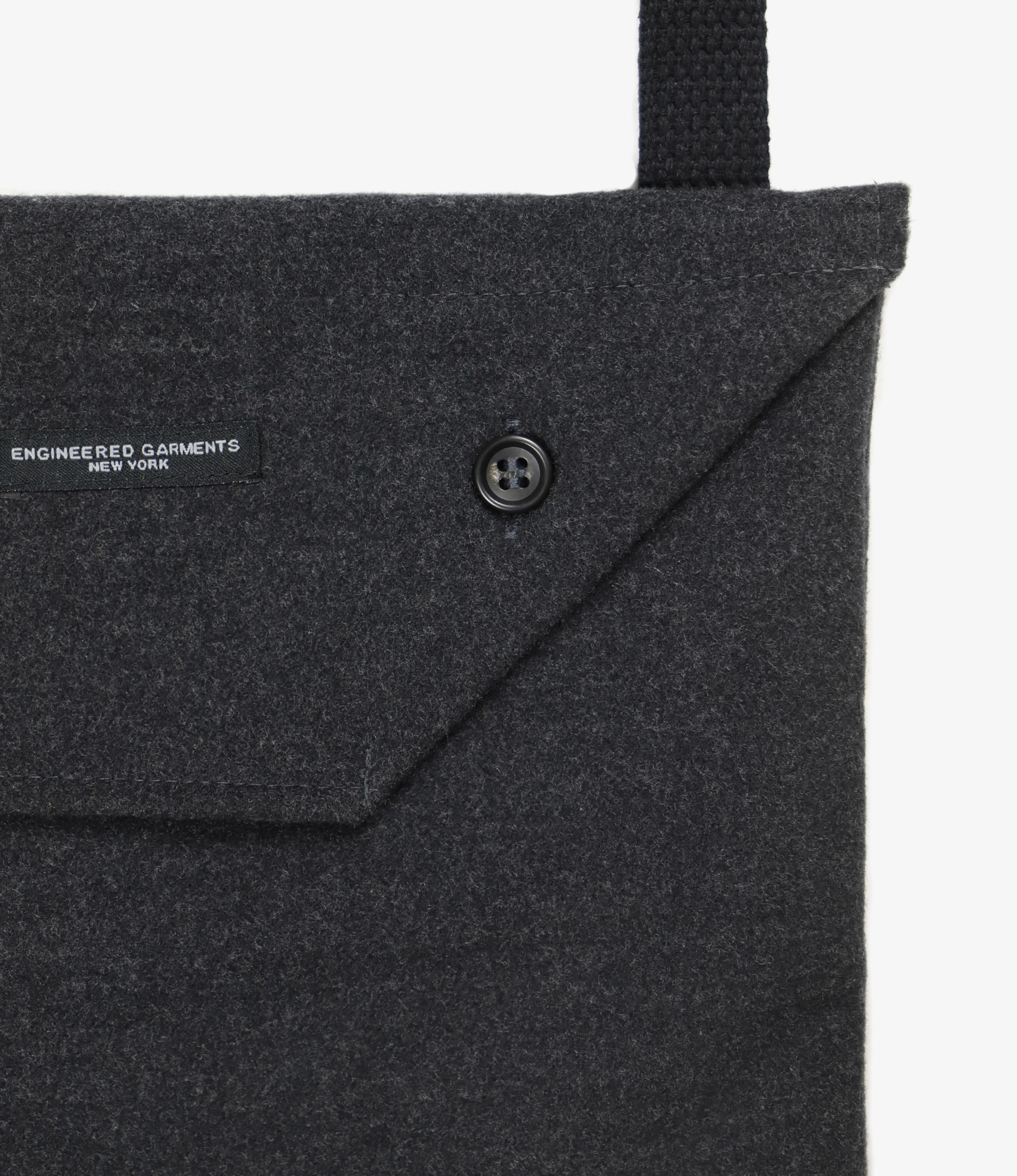 Engineered Garments Shoulder Pouch - Charcoal Polyester Fake Melton