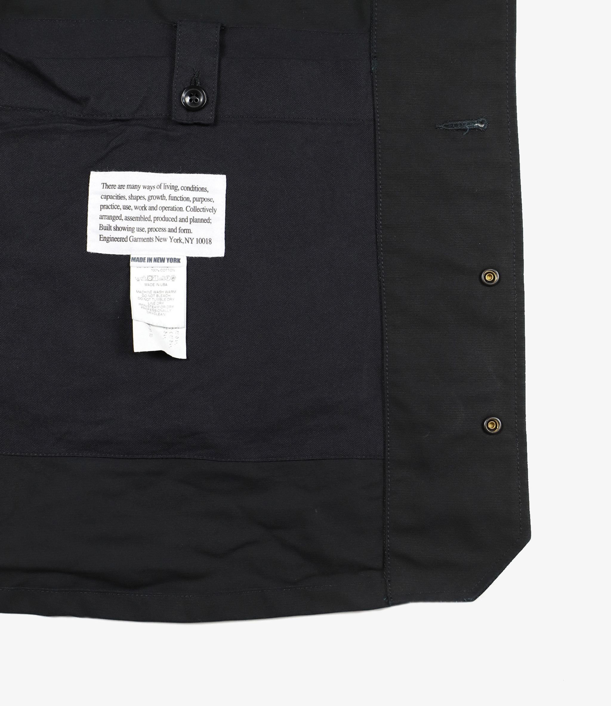 Engineered Garments Long Logger Jacket - Black Cotton Double Cloth