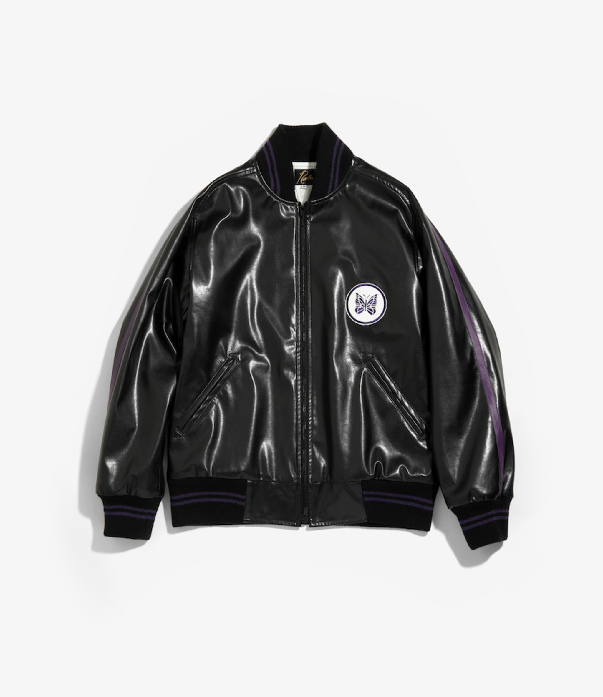 Needles Award Jacket - Faux Lthr - Black