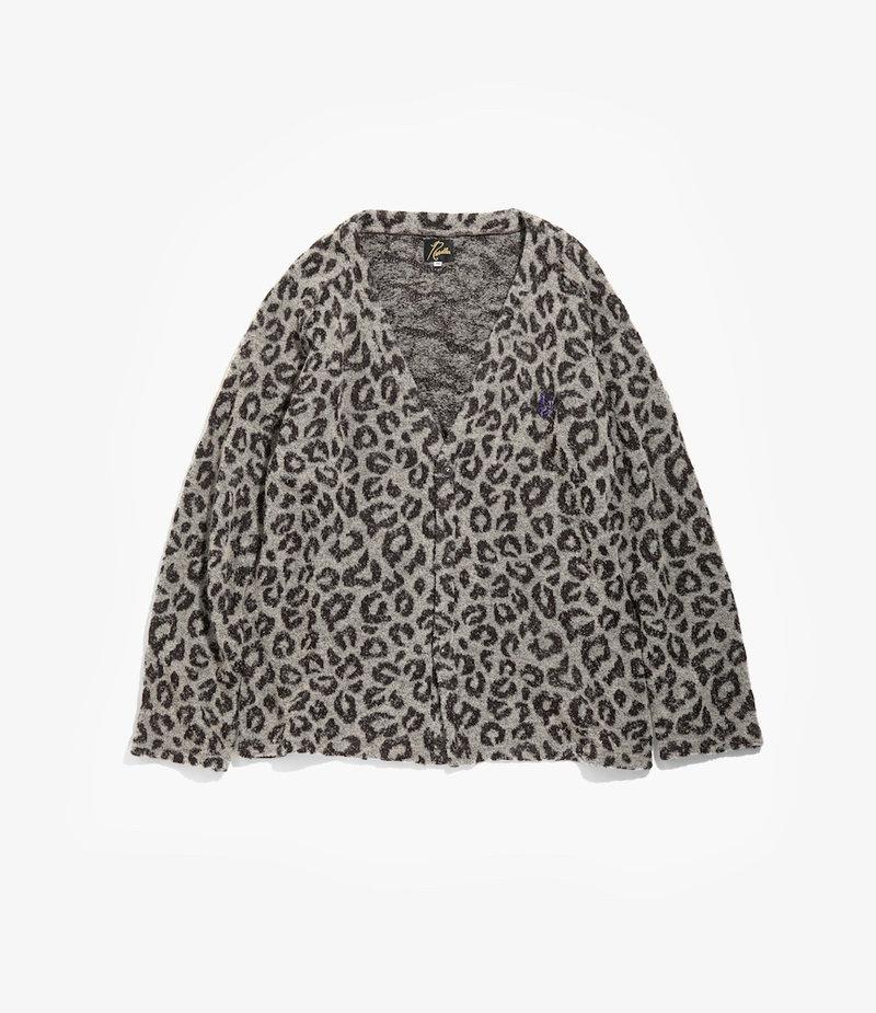 Needles V Neck Cardigan - Leopard Knit - Grey