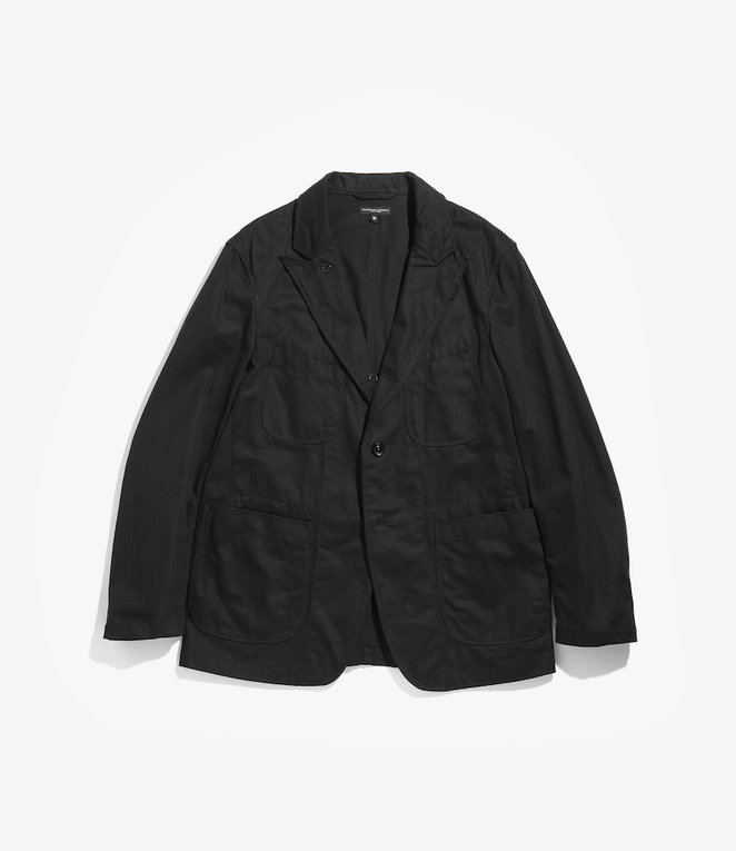 Engineered Garments Bedford Jacket - Black Cotton Herringbone Twill