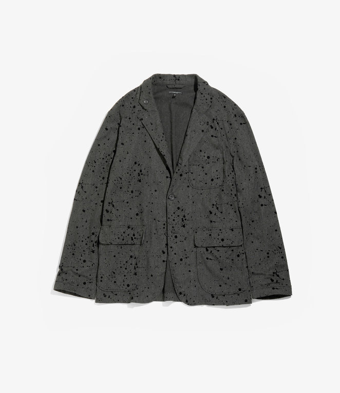 Engineered Garments Loiter Jacket - Charcoal Rayon Wool Flocking Splatter Print