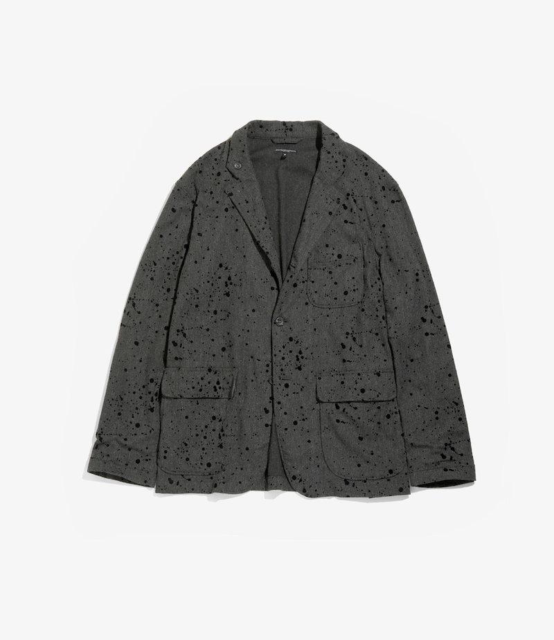 Engineered Garments Loiter Jacket - Charcoal Rayon Wool Flocking Splatter Print