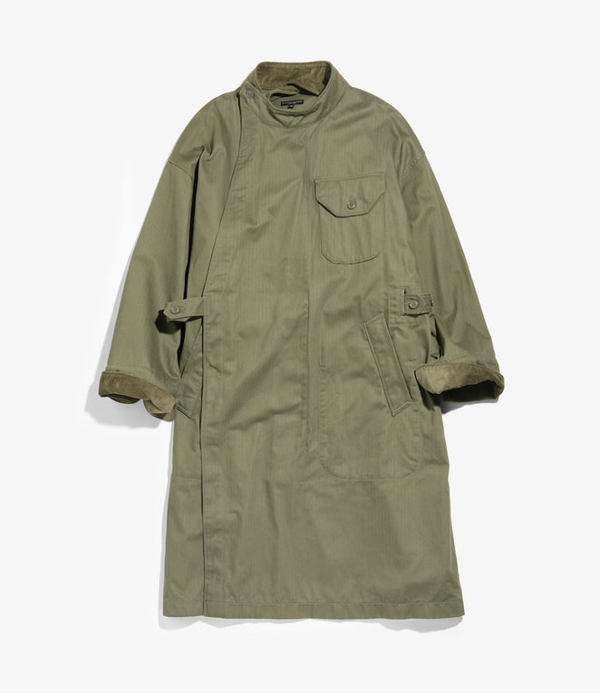 Engineered Garments MG Coat - Olive Cotton Herringbone Twill