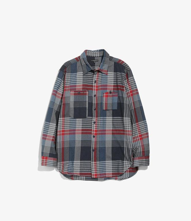 Engineered Garments Work Shirt - Navy/Grey/Red Cotton Twill Plaid