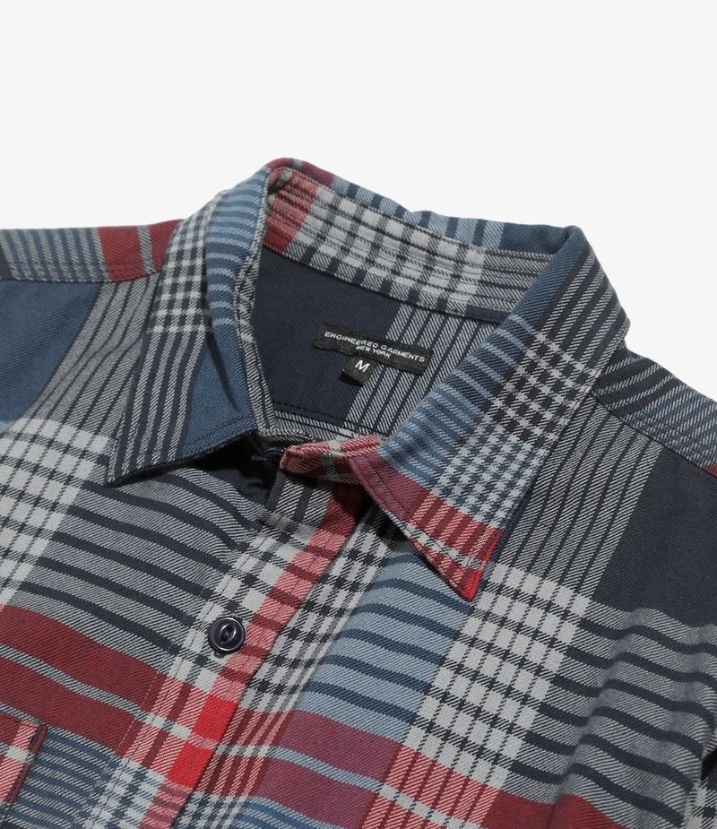 Engineered Garments Work Shirt - Navy/Grey/Red Cotton Twill Plaid