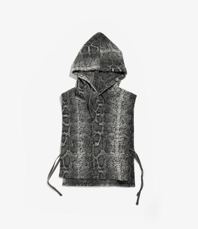 Engineered Garments Hooded Interliner - Grey Poly Wool Snake Print Knit