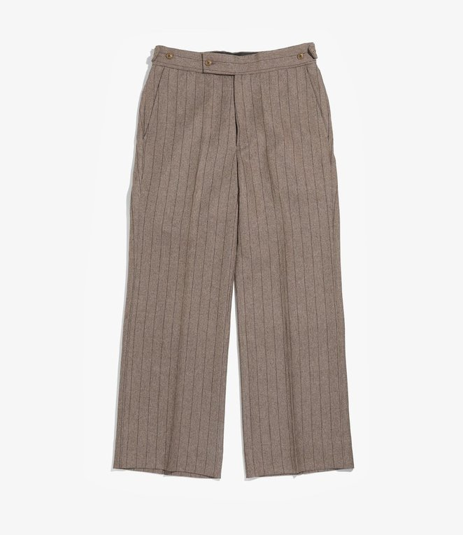 Needles Side Tab Trouser - Stripe Poly Cloth - Brown