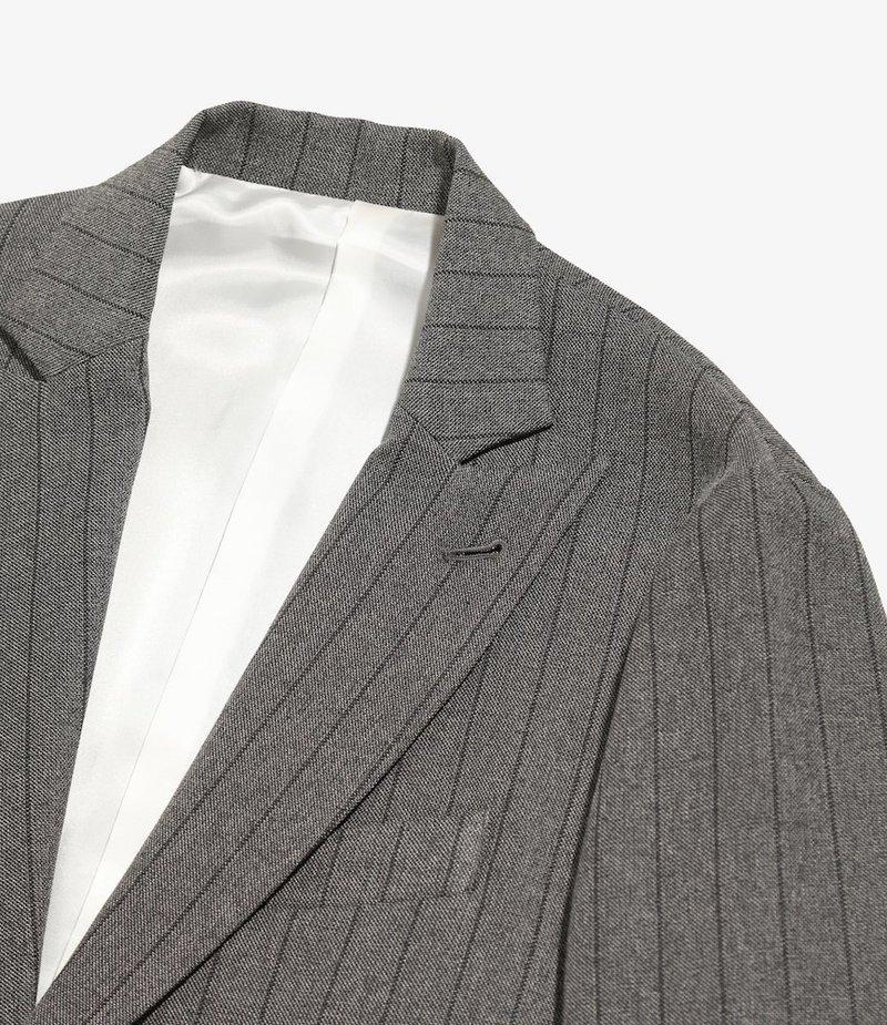 Needles Peaked Lapel 1B Jacket - Stripe Poly Cloth - Grey