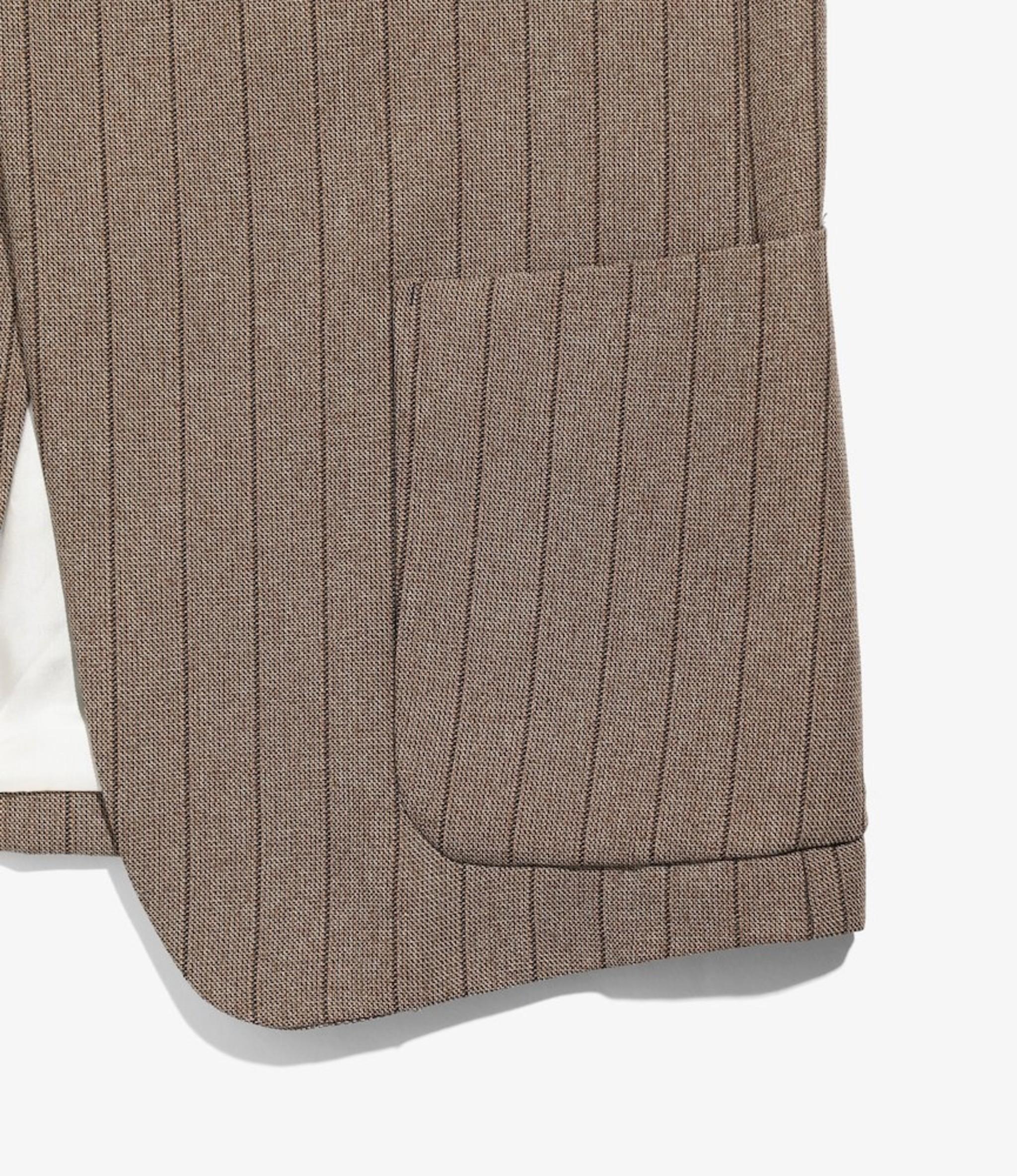 Needles Peaked Lapel 1B Jacket - Stripe Poly Cloth - Brown