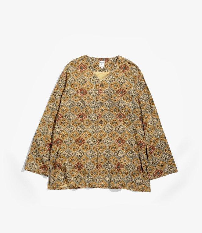 South2 West8 V Neck Army Shirt - Batik Pt - Arabesque