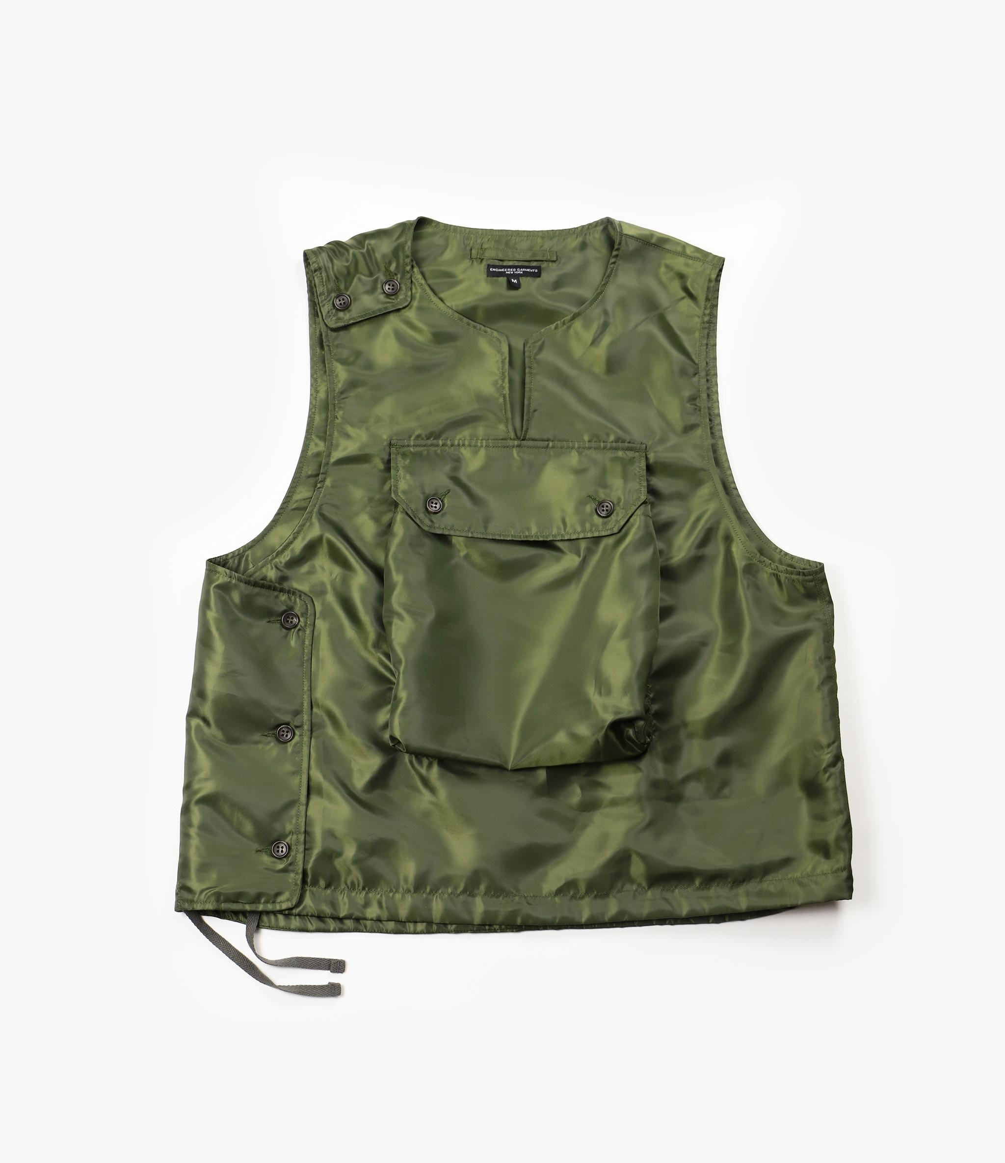 Engineered Garments Cover Vest - Olive Drab Polyester Pilot Twill