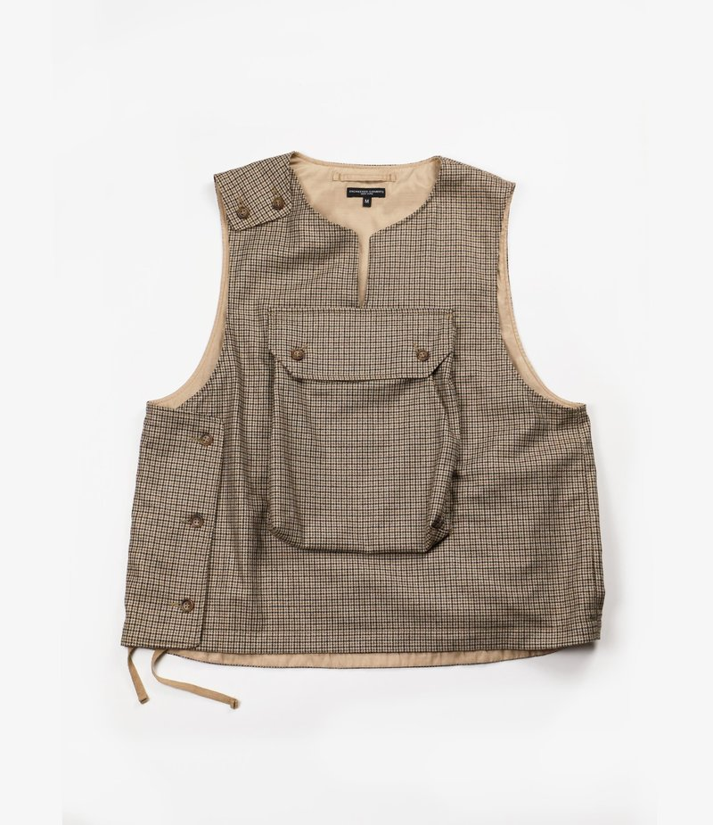 Engineered Garments Cover Vest - Brown Wool Poly Gunclub Check