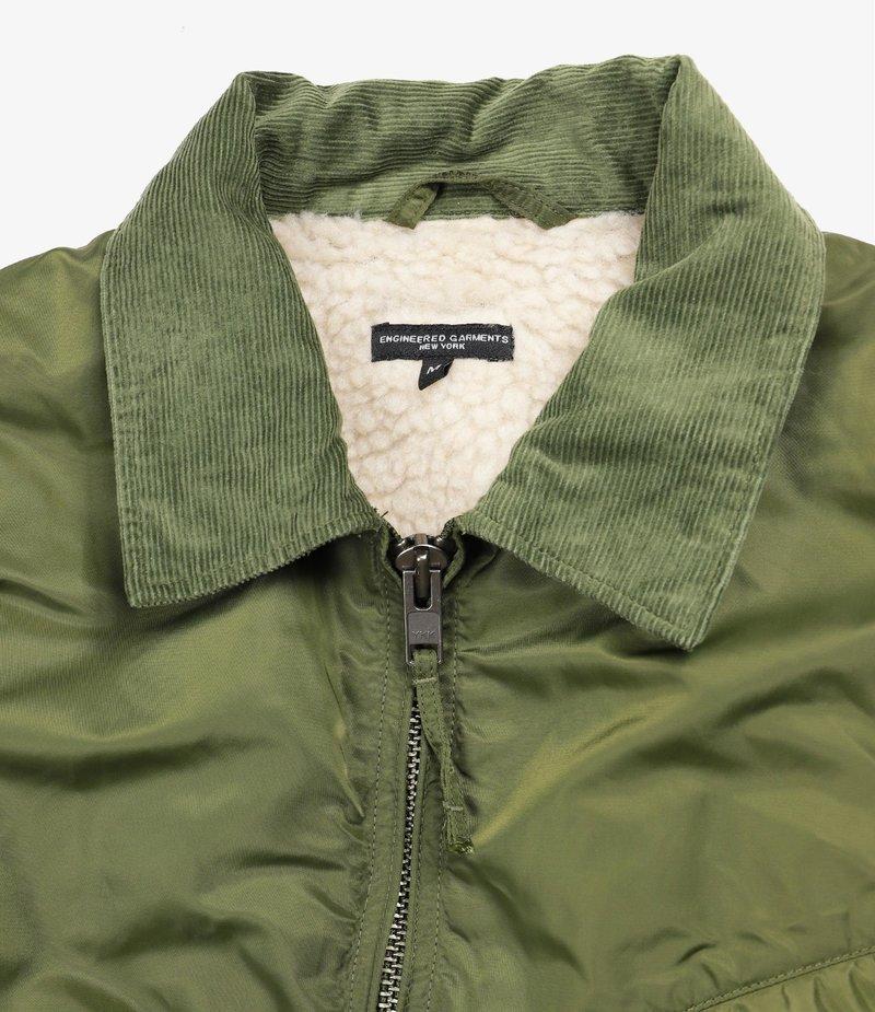 Engineered Garments Driver Jacket - Olive Flight Satin Nylon
