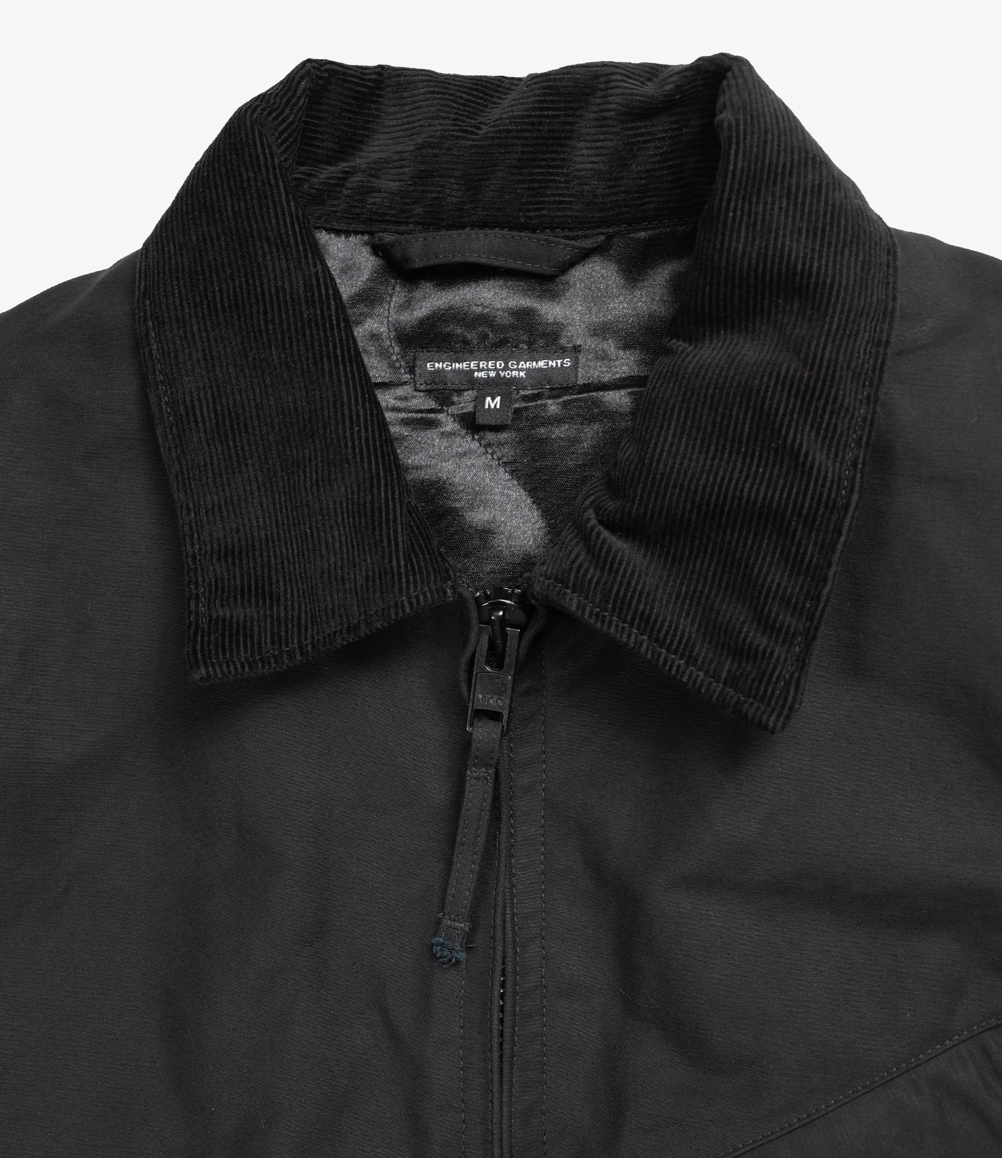 Engineered Garments  Driver Jacket - Black Cotton Double Cloth