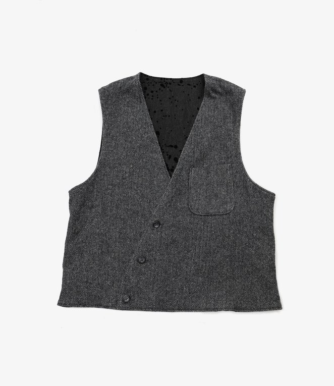 Engineered Garments Reversible Vest - Grey Poly Wool Herringbone
