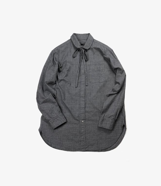 Engineered Garments Rounded Collar Shirt - Grey Cotton Glen Plaid