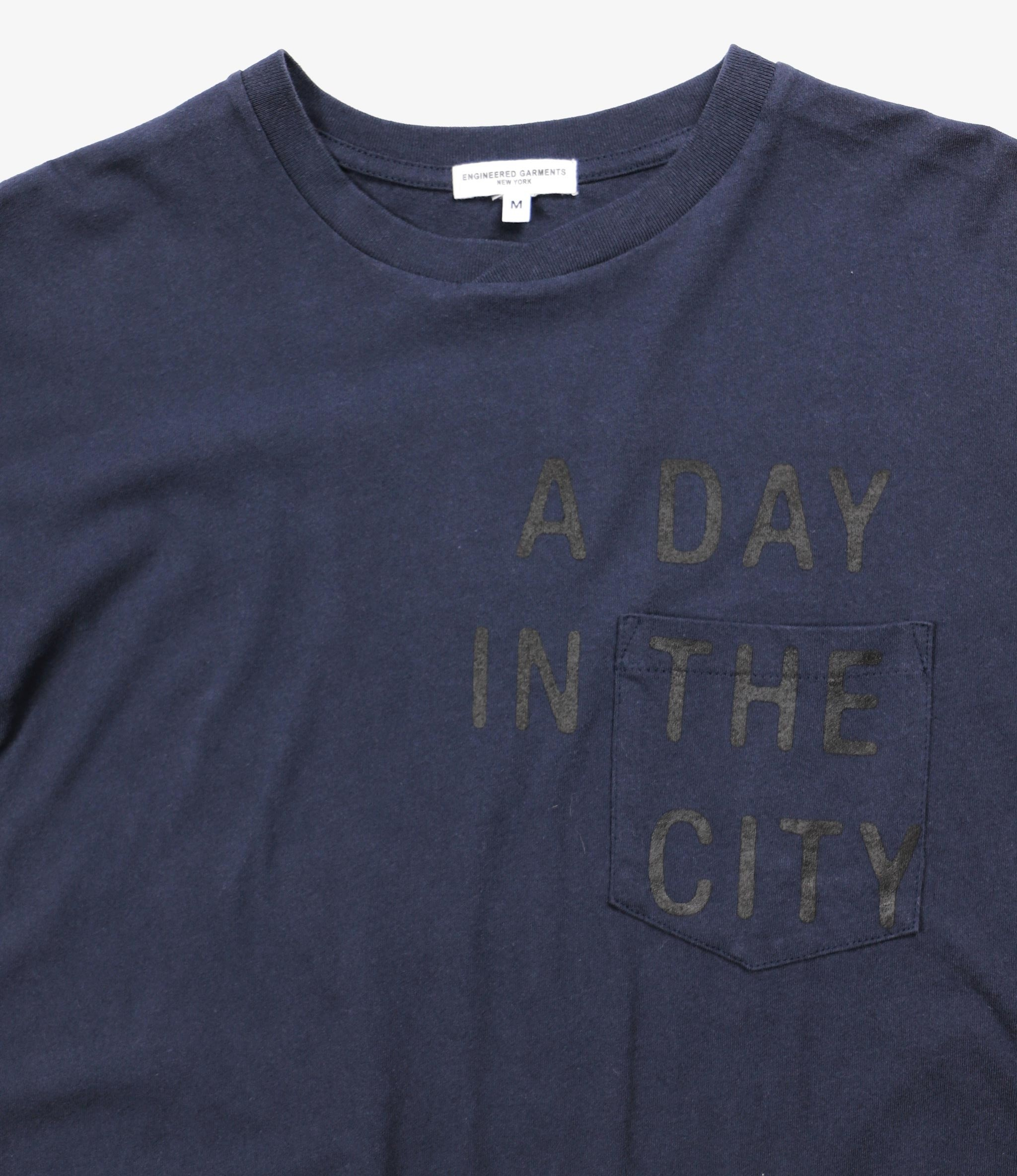 Engineered Garments Printed Cross Crew Neck T-shirt - Navy - A Day