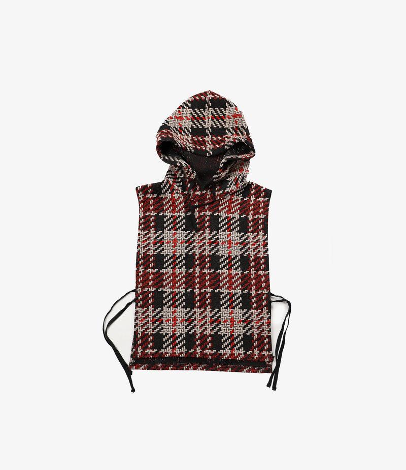 Engineered Garments Hooded Interliner - Black/Red Tweed Knit