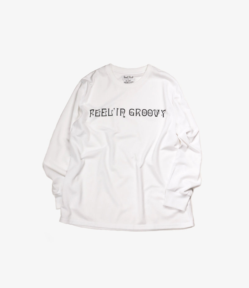 South2 West8 L/S Crew Neck Tee - FEEL' IN GROOVY - White