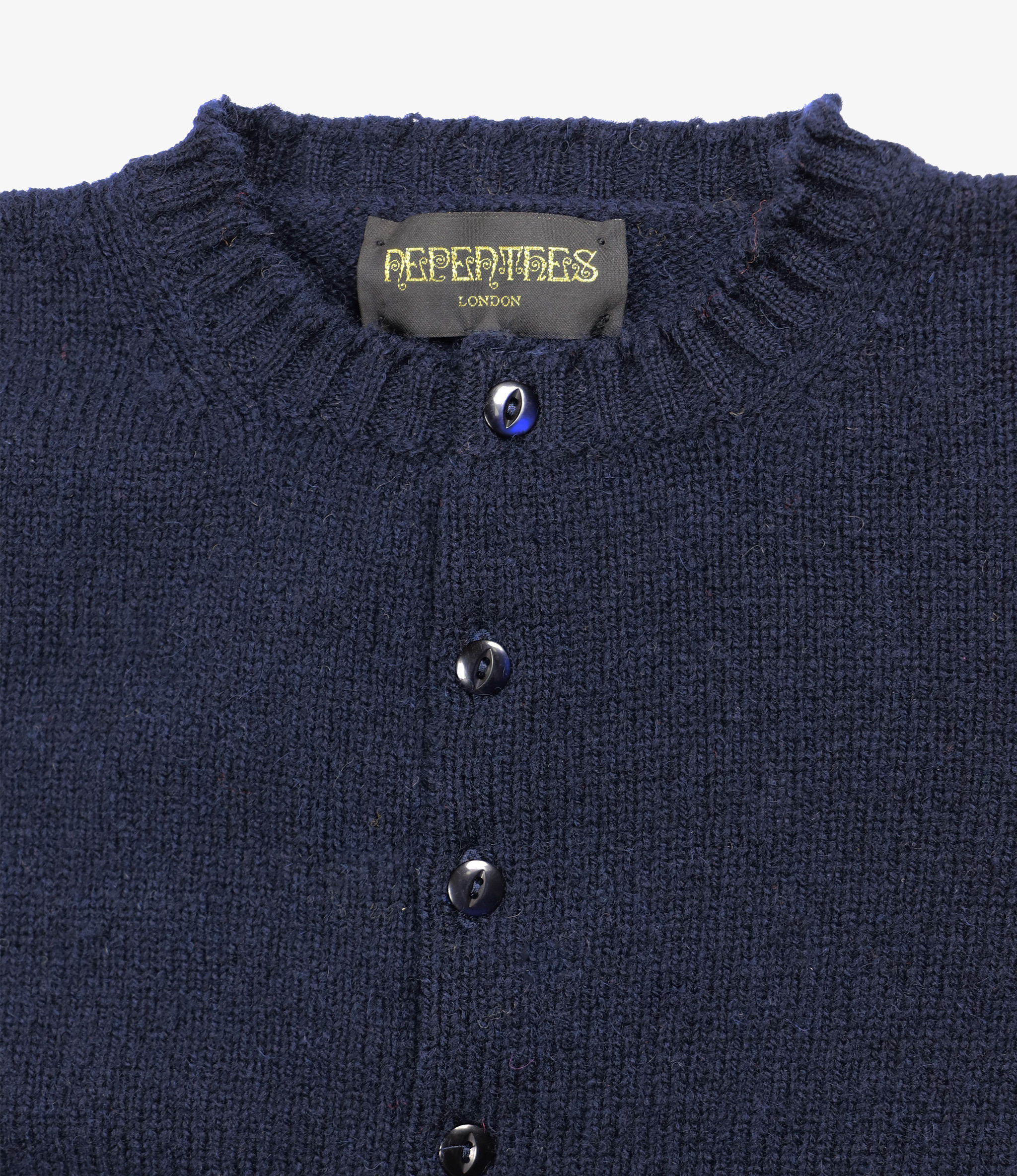 Nepenthes London Fisherman Pocket Crew Cardigan - LS - Navy